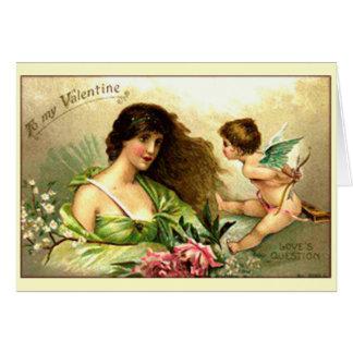 Vintage Valentijn Aphrodite en Cupido Wenskaart