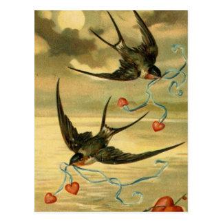 Vintage Valentijn Boerenzwaluw met Harten Briefkaart