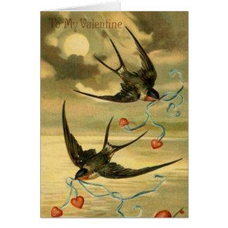 Vintage Valentijn Boerenzwaluw, Verjaardag Kaart