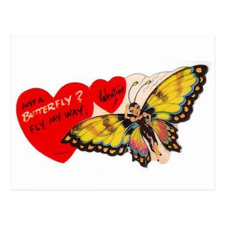 Vintage Valentijn Dame Butterfly Hearts Briefkaart