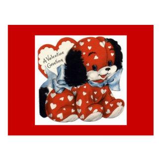 - vintage-Valentijn-kaart-rood-jong Briefkaart