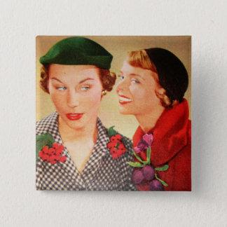 Vintage van jaren '50huisvrouwen/dames roddel vierkante button 5,1 cm