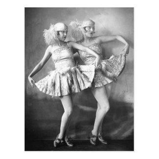 Vintage Vaudeville Dansers Retro Glam Briefkaart