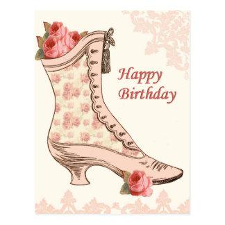 Vintage verjaardagsbriefkaart met schoen en rozen briefkaart