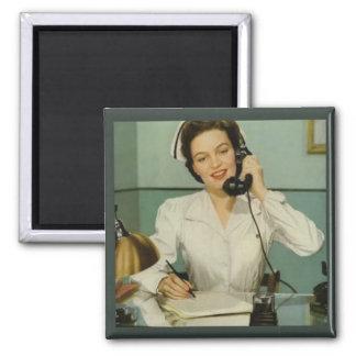 Vintage Verpleegster op de Telefoon Magneet