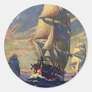 Vintage Vervoer, Clipper Schepen op zee Ronde Sticker