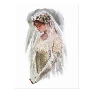 Vintage Victoriaans Bruid met de Visser van Briefkaart