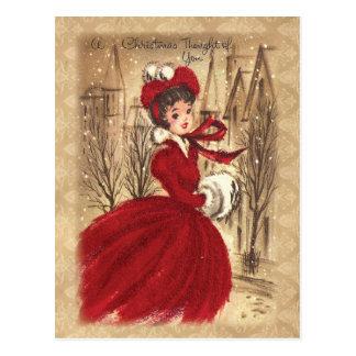 Vintage Victoriaans Een Kerstgedachte Voor Jou Briefkaart