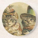 Vintage Victoriaans Katten in Petten, Grappige Drankjes Onderzetter