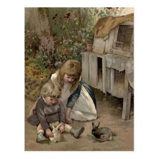 Vintage Victoriaans & Leuk: Kinderen & de Konijnen Briefkaart