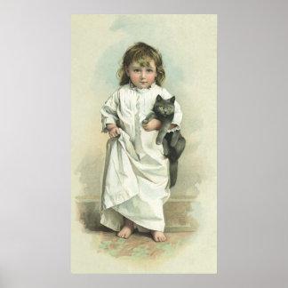 Vintage Victoriaans Meisje in een Nachtjapon met Poster