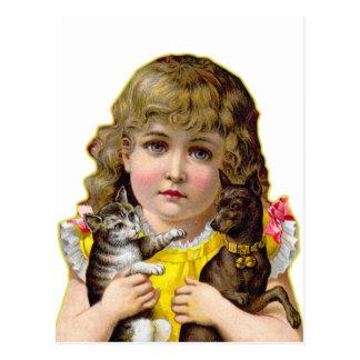 Vintage Victoriaans Meisje met het Art. van de Kat Briefkaart