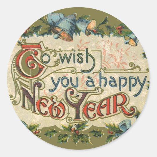 Vintage Victoriaans Om U Een Gelukkig Nieuwjaar Ronde Sticker