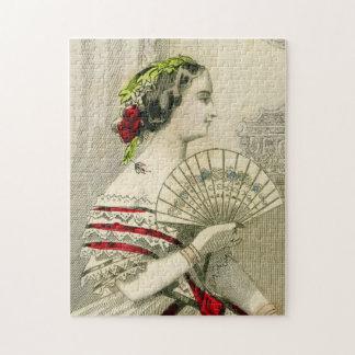 Vintage Victoriaans Vrouw met het Raadsel van de Puzzel