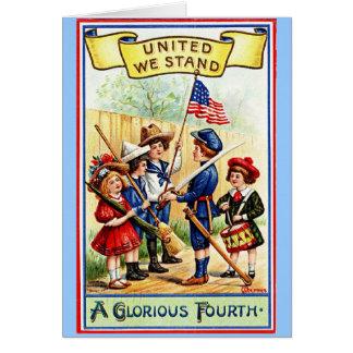 Vintage Vierde van Juli Notecard Kaart