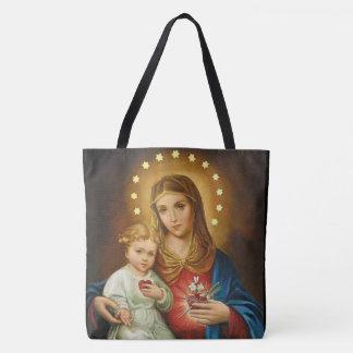 Vintage Vlekkeloos Hart van Mary w/Baby Jesus Draagtas