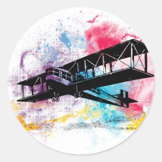Vintage Vliegtuig met kleurrijke wolken Ronde Sticker