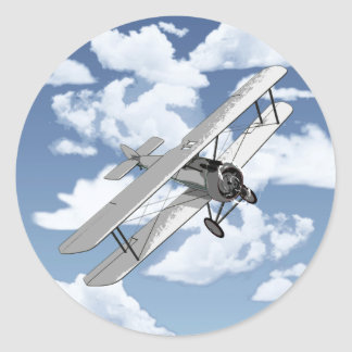 Vintage Vliegtuig Ronde Stickers