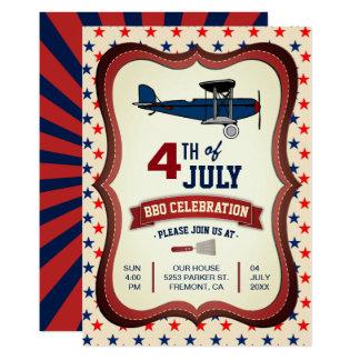 Vintage Vliegtuig vierde van BBQ van Juli de 12,7x17,8 Uitnodiging Kaart