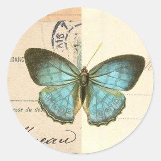 Vintage vlinder in blauwe mooie trendy sticker