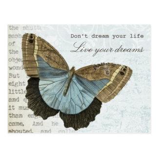 Vintage vlinder positief inspirerend citaat briefkaart