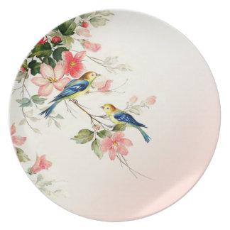 Vintage Vogels   van de Liefde blozen roze wit Melamine+bord