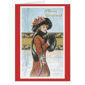 Vintage Vrolijke Kerstmis Wenskaart