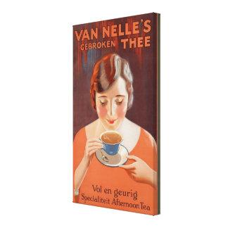 Vintage Vrouw die het Schilderen van de Thee Canvas Print