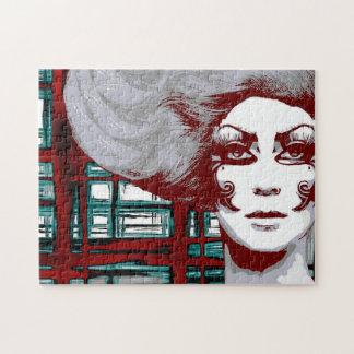 Vintage vrouw in venstersRaadsel Legpuzzel
