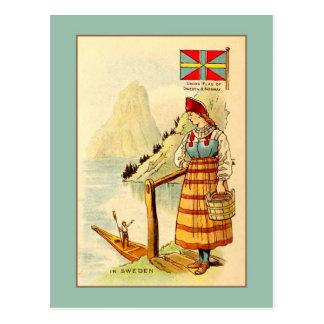 Vintage vrouw in Zweden, de vlag van de Unie, Briefkaart