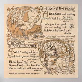 Vintage Walter Crane: Haan & de Wolf & het Lam van Poster