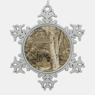 Vintage Waterrad Tin Sneeuwvlok Ornament