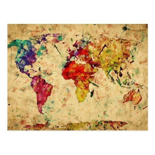 Vintage wereldkaart wens kaarten