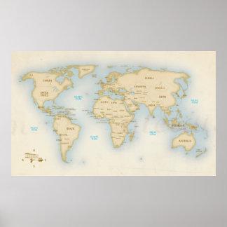 Vintage wereldkaart met landen poster