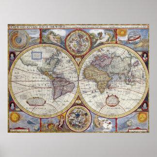 """Vintage wereldkaart van 1627, 20"""" x 26 """" poster"""