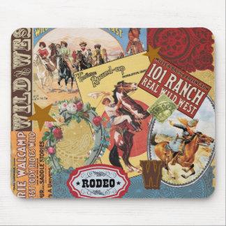 vintage westerne collage mousepad muismat