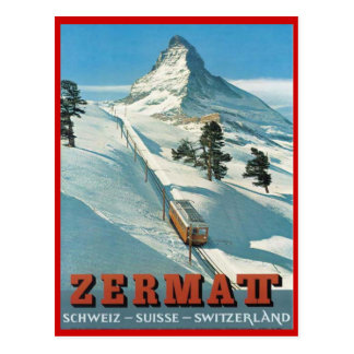 Vintage wintersporten, Ski Zermatt, Zwitserland Briefkaart