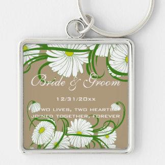 Vintage Witte Gerber Daisy Flowers Wedding Set Sleutelhanger
