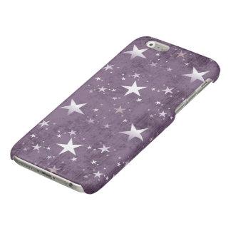 vintage witte sterren op paarse vector als iPhone 6 hoesje glanzend