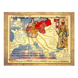 Vintage Wwi- kaartposter van Pruisen Briefkaart