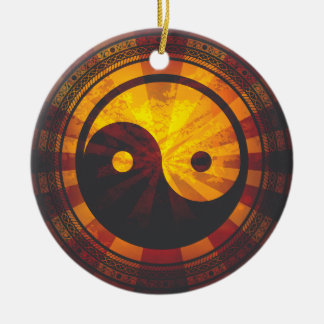 Vintage Yin Yang Rond Keramisch Ornament