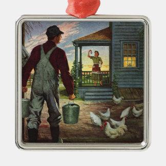 Vintage Zaken, Boerderij met Landbouwer en Kippen Zilverkleurig Vierkant Ornament