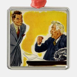 Vintage Zaken, Gekke CEO Uitvoerende Chef- Zilverkleurig Vierkant Ornament