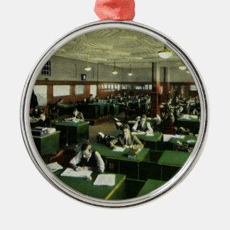 Vintage Zaken, Journalisten in het Kantoor van de Zilverkleurig Rond Ornament