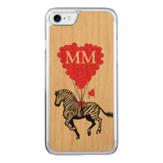 vintage Zebra en liefdehart Carved iPhone 8/7 Hoesje