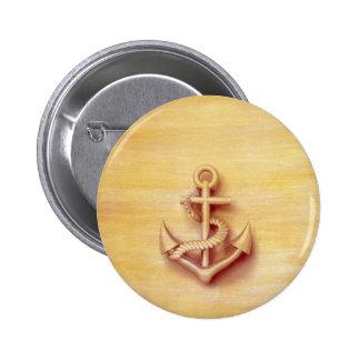 Vintage zeevaart elegant anker ronde button 5,7 cm