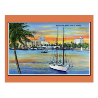 Vintage Zonsondergang bij het Palm Beach Florida Briefkaart
