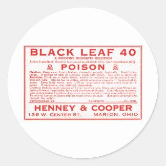 Vintage Zwart Blad 40 het Etiket van het Vergift Ronde Stickers