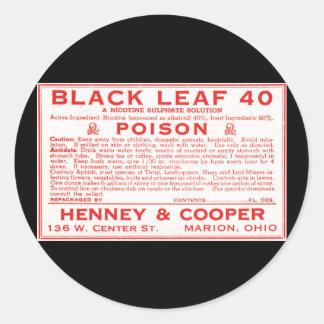 Vintage Zwart Blad 40 het Etiket van het Vergift Ronde Sticker