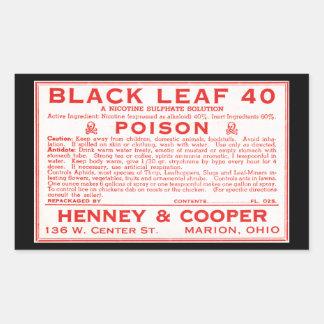 Vintage Zwart Blad 40 het Etiket van het Vergift